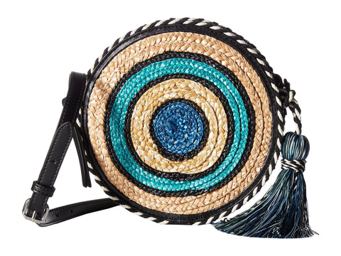 REBECCA MINKOFF Blue Multi Straw Circle Crossbody Bag $145 NEW