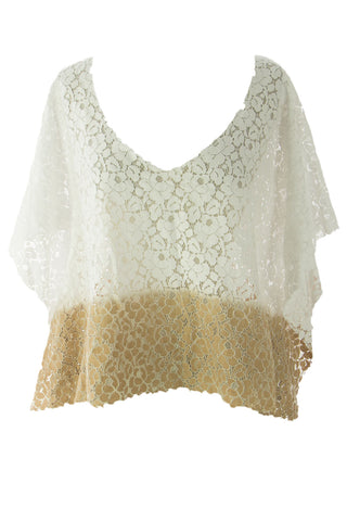 VELVET by Graham & Spencer Women's White Ombre Poncho Style Lace Top S $159 NEW