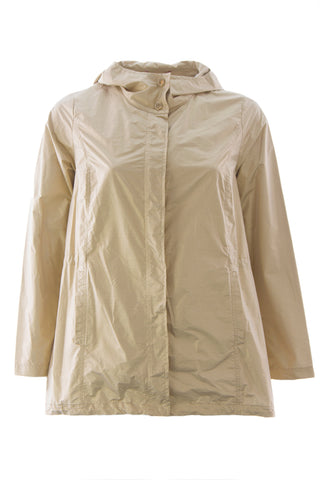 MARINA RINALDI Women's Gold Tandem Hooded Windbreaker Jacket $740 NWT