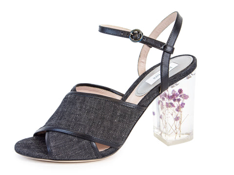 MAX MARA Women's Tebano Black Denim Block Heel Sandals $745 NIB