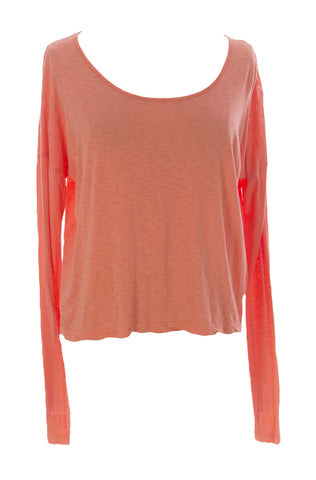 VELVET by Graham & Spencer Women's Orange Long Sleeve Hi-Low Blouse $88 NEW