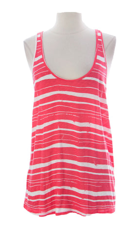 VELVET by Graham & Spencer Women's Coral/White Racerback Top Sz Large $89 NEW