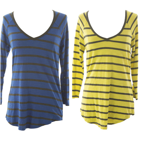 VELVET by Graham & Spencer Women's Striped 3/4 Sleeve V-Neck Tee $86 NEW