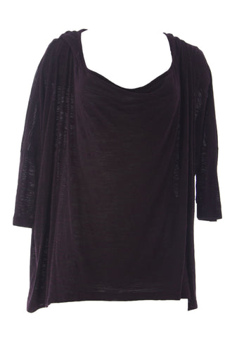 VELVET by Graham & Spencer Womens Port Textured Knit Swing Hoodie Top M $99 NEW