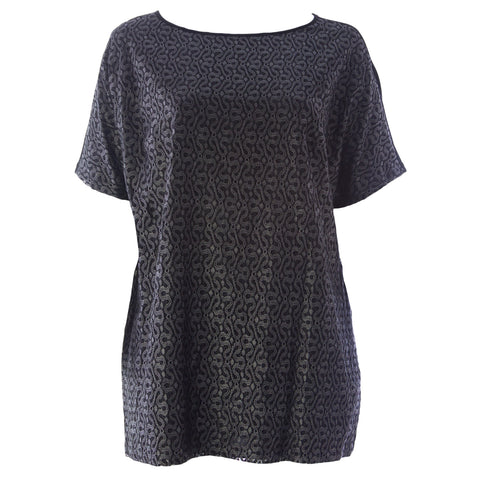 MARINA RINALDI Women's Black Vanto Embroidered Tunic Blouse $310 NWT