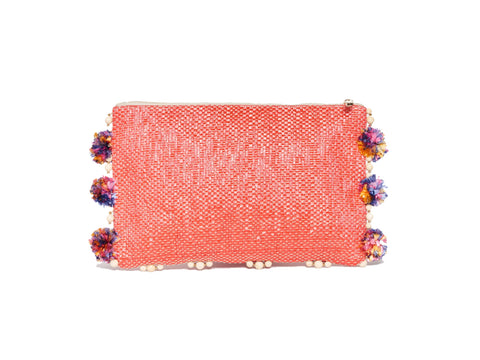 ROBERTA ROLLER RABBIT Women's Coral Vasso Pom Pom Clutch $125 NEW