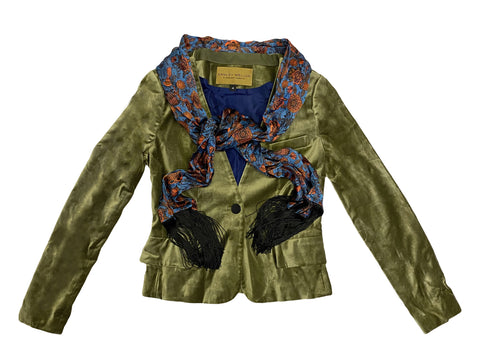 HANLEY MELLON Women's Olive Velveteen Blazer with Scarf $840 NEW