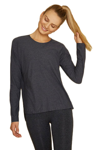 WE OVER ME X BANDIER Women's Charcoal Spacedye Foundation Top Small $88 NWT