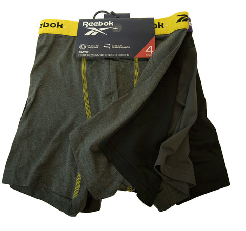 REEBOK Boy's Black/Grey 4-Pack Performance Boxer Briefs NEW