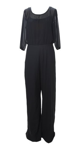 MAX&CO. Women's Black Xpaiolo Partial Sheer Jumpsuit US 8 / IT 44 $495 NWT