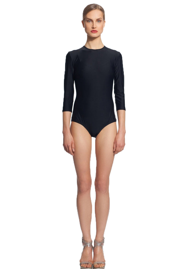 MODEST SEA Zoe Black 3/4 Sleeve Low Coverage Bodysuit Burkini 11026 $82 NEW