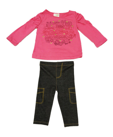 ABSORBA Toddler Girl's Rose Pink Top / Jeggings 2-Pc Outfit 12M 18M 24M AUIG5661