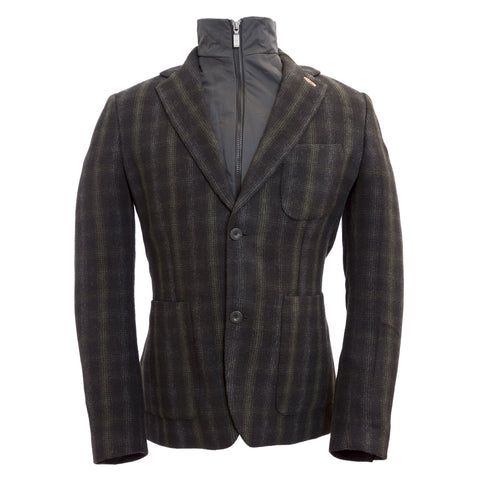 ALVIERO MARTINI 1a CLASSE Black Multi Plaid Blazer Jacket G105 $580 NWT