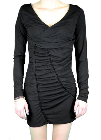 ANAMA NIGHT Women's Black Ruched Long Sleeve V-Neck Dress W11-165 $78 NEW