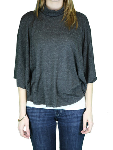 ANAMA Women's Dark Heather Grey Mock Neck Kimono Sleeve Top W11-007 $84 NEW