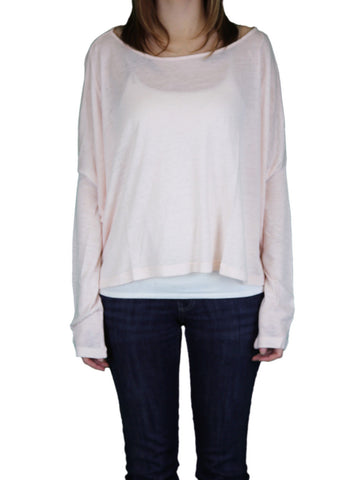 ANAMA Women's Nude Oversized Long Sleeve Boatneck Top W11-070 $84 NEW