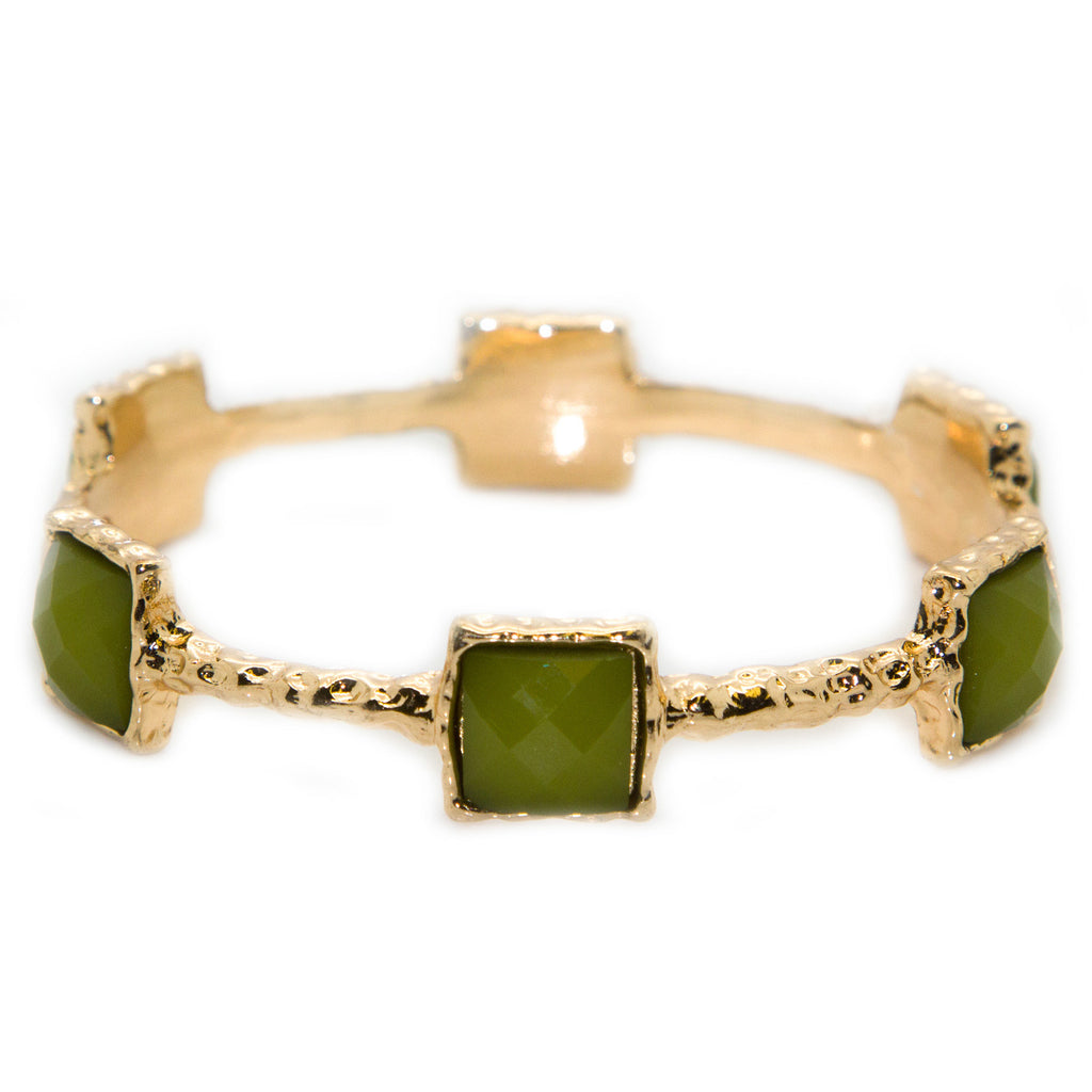 CHAMAK Green & Gold Textured Jeweled Bangle Bracelet B5461 $48 NWT