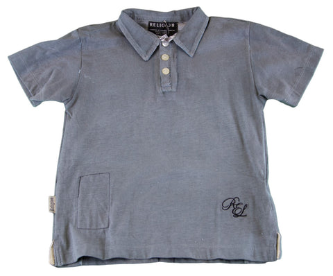 RELIGION Boy's Grey/Blue Printed Polo Shirt B610RCO01 NEW