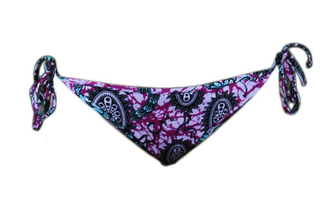 BANTU Women's Purple / Multi-Color Side-Tie Bikini Bottom $64.99 NEW