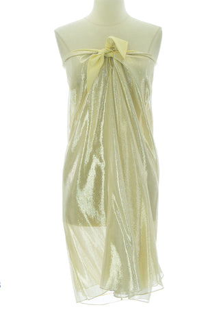 ANNE LEMAN Womens Silver/Lemon Yellow Strapless St. Barth's Dress 99940 O/S $258