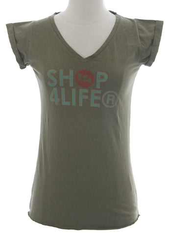 BLUE BLOOD Women's Army Alicia 2 Short Sleeve Graphic Shirt Sz XS NEW