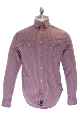 Canterbury of New Zealand Firecracker Red Plaid Button-up Shirt NE43708 $115 NEW