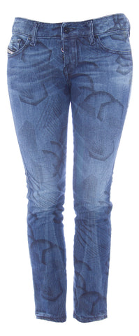 DIESEL Women's Med Wash Geometric Print Straight Leg Jeans #00C3MU NEW