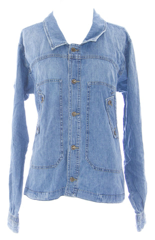 DIESEL Women's Med Wash Gothin Ruched Back Denim Jacket #00C8UF NEW