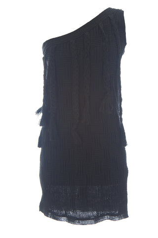 SuperTrash Women's Black Knit Linen One Shoulder Dolemite Dress Sz S $258 NEW