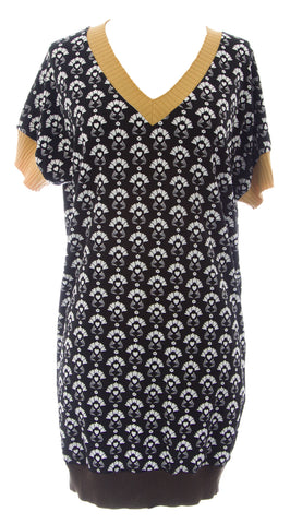 ETERNAL CHILD Women's Black V-Neck Short Sleeve Graphic Tunic NEW