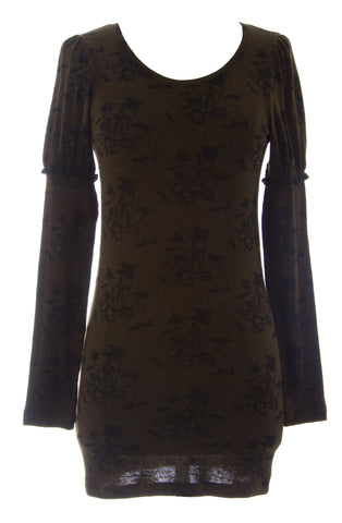 ETERNAL CHILD Women's Brown Long Sleeve Printed Tunic Blouse NEW