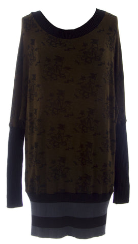 ETERNAL CHILD Women's Brown/Black Printed Batwing Boatneck Tunic Sweater NEW