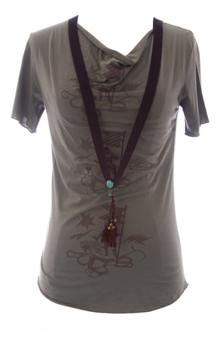 ETERNAL CHILD Women's Grey Printed Tee W/ Attached Necklace NEW