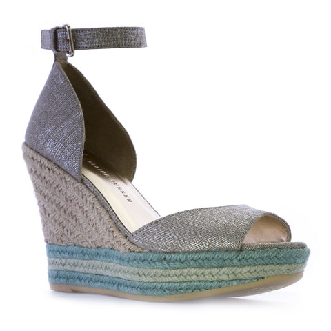 ELAINE TURNER Arial Metallic Linen Tiffany/Mint Jute Wedges Sandals $195 NEW