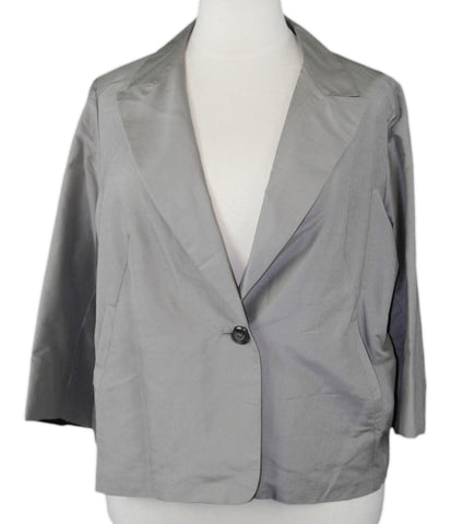 MARINA RINALDI by MaxMara Elrond Gray One-Button 3/4 Sleeve Blazer $525 NWT