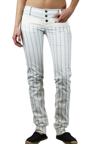 CUSTO BARCELONA Women's Eva Blue Pinstripe Pants 293044 $150 NWT