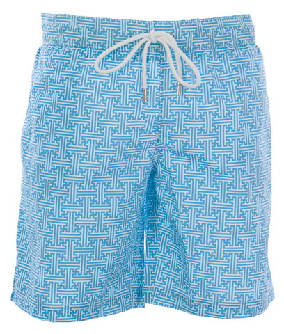NAILA Men's Turquoise Line Printed Swim Trunks EVIANTUQ $110 NEW