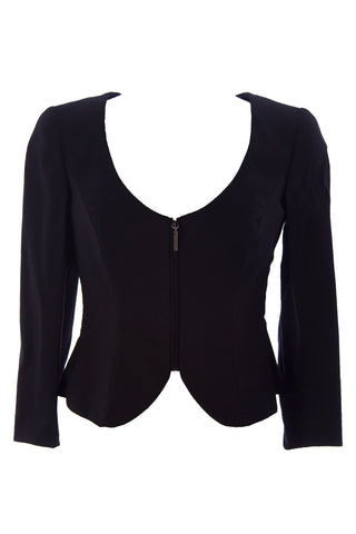 GIORGIO ARMANI Women's Black Flared Back Cutout Blazer GAG54T $2,125 NWT