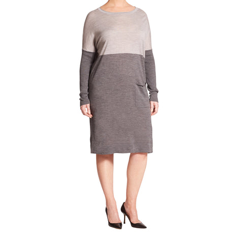 MARINA RINALDI Women's Grey Giara Two-Tone Sweater Dress $540 NWT