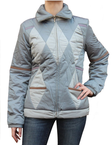 CUSTO BARCELONA Women's Gres Gray Diamond Puffer Jacket 392352 $349 NWT