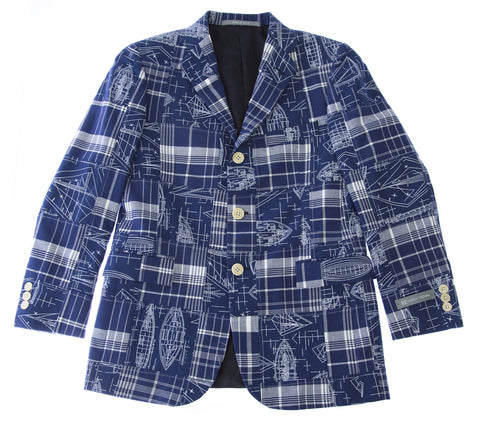 HICKEY FREEMAN Boy's Blue Design Printed 3-Button Blazer Y81502005 $350 NEW