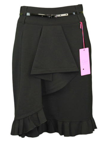 CLIPS Women's Black Belted Ruffle Front Straight Skirt IT Sz 44 NWT $375