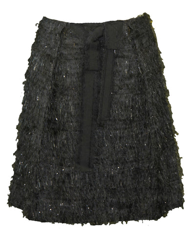PAOLA FRANI Women's Gonna Black Fringe Effect About the Knee Skirt US Sz 6 NWT $239