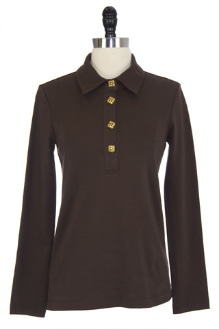 ELIZABETH MCKAY Chocolate Brown Long Sleeve JoJo Polo Top 7003 Sz XS $135 NWT