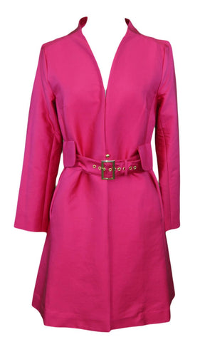 ELIZABETH MCKAY Jazz Pink Long Sleeve Belted Julia Jacket 6071 $295 NWT