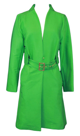 ELIZABETH MCKAY Jolly Green Long Sleeve Belted Julia Jacket 6071 $295 NWT