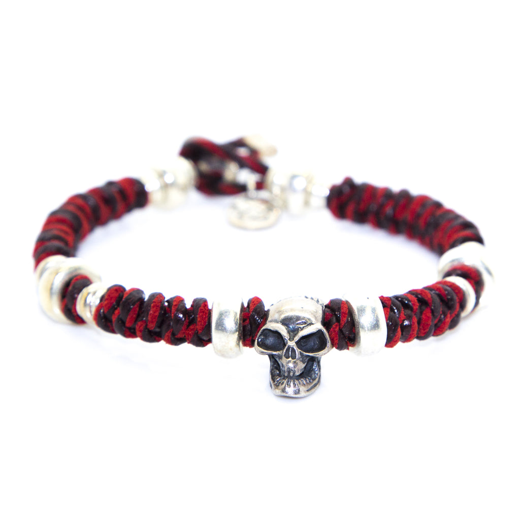 KRISS & JULES Red Thread Silver Skull Mokuba Bracelet C0931 $155 NEW