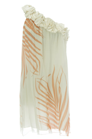 ANNE LEMAN Women's Tropical Print One Shoulder Konos Dress 99936 $548 NEW