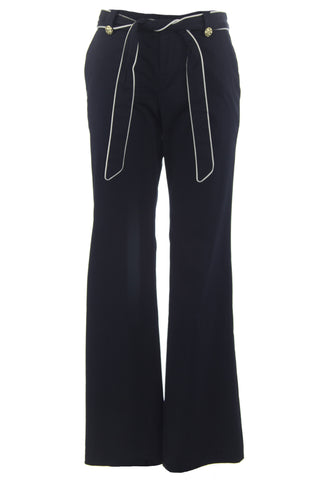 ELIZABETH MCKAY Navy & Whisper White Waist Tie Libby Dress Pants 1011 $195 NWT