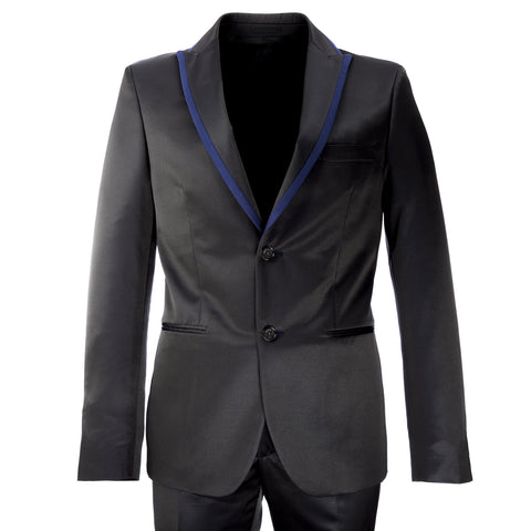 MANUEL RITZ EVENING Black w/ Blue Trim 2-Pc Wool Blend Suit 112A359R $568 NWT